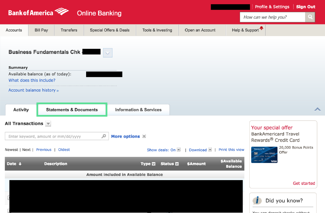 bank of america business account documents
